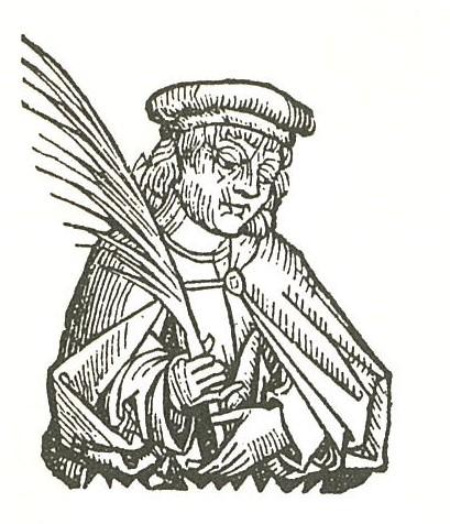 Woodcut: medieval scribe