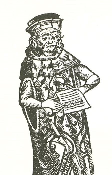 Woodcut: medieval figure with scroll